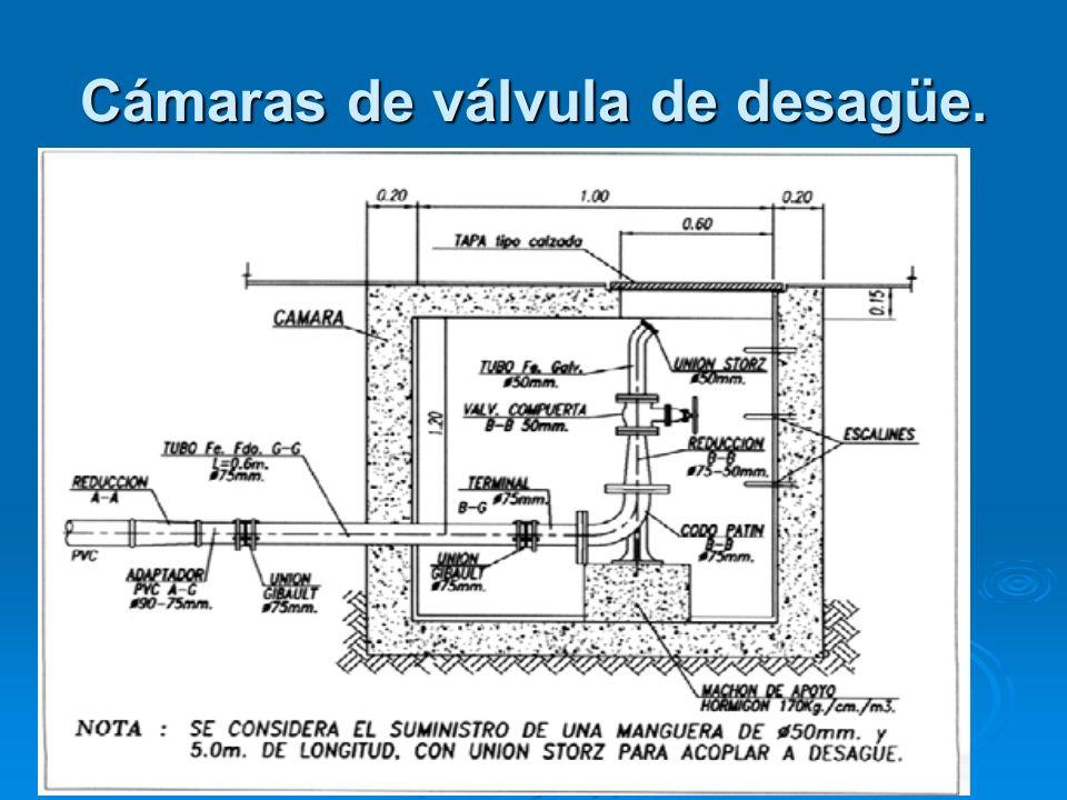 Cámaras de válvula de desagüe.