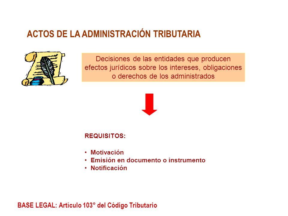 ACTOS DE LA ADMINISTRACIÓN TRIBUTARIA