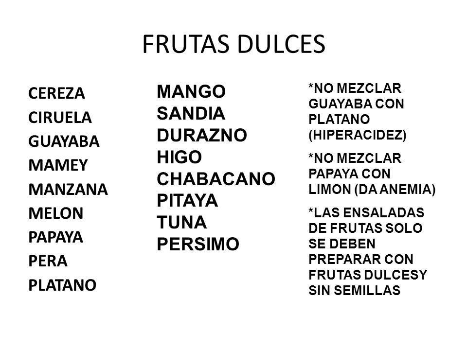 FRUTAS DULCES MANGO CEREZA SANDIA CIRUELA DURAZNO GUAYABA HIGO MAMEY