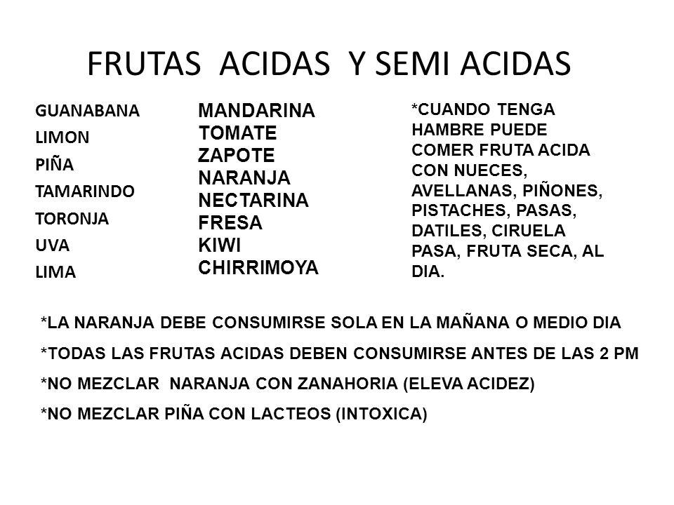 FRUTAS ACIDAS Y SEMI ACIDAS