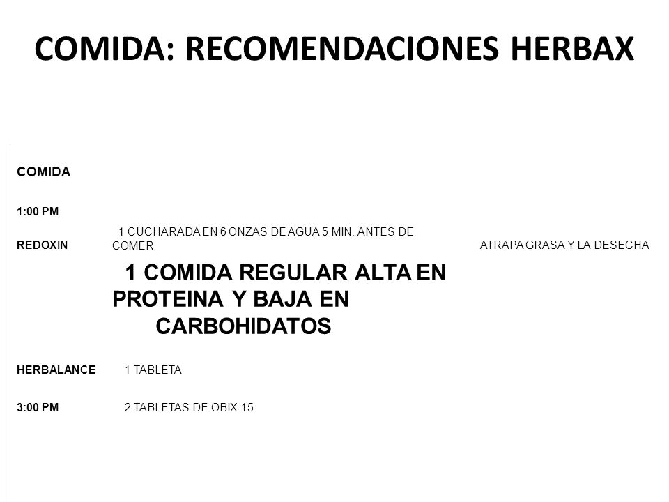 COMIDA: RECOMENDACIONES HERBAX