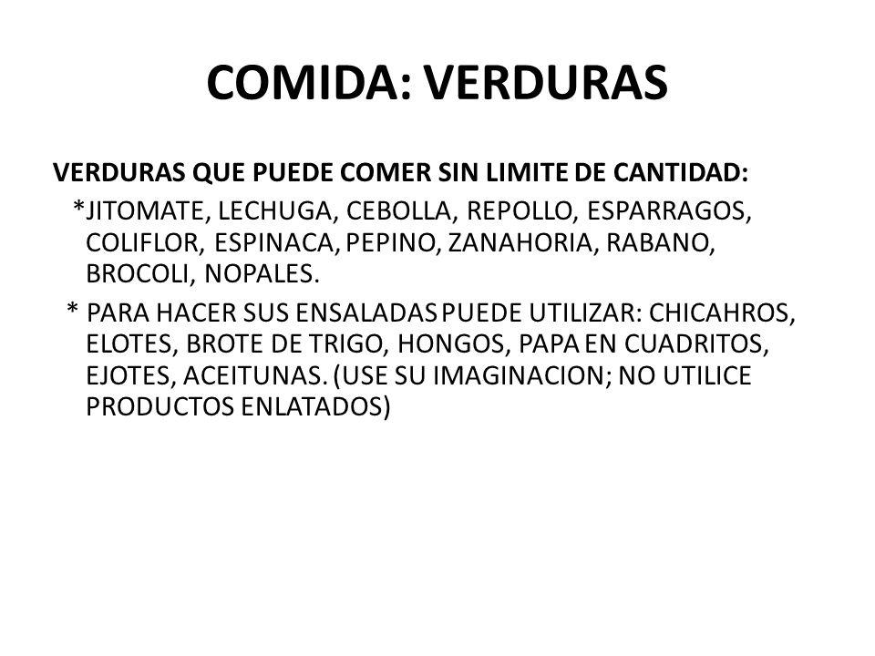 COMIDA: VERDURAS VERDURAS QUE PUEDE COMER SIN LIMITE DE CANTIDAD:
