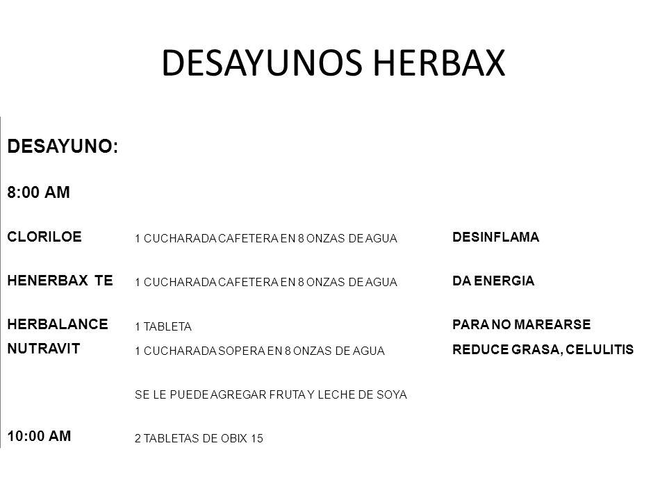 DESAYUNOS HERBAX DESAYUNO: 8:00 AM CLORILOE HENERBAX TE HERBALANCE