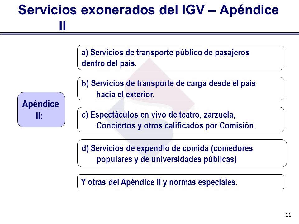 Servicios exonerados del IGV – Apéndice II