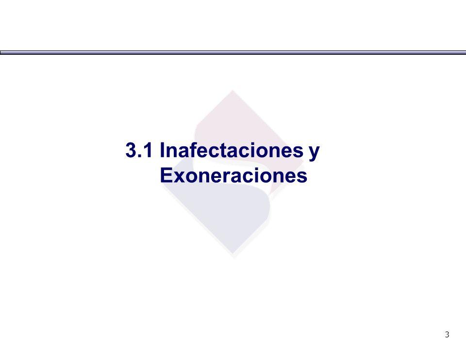 3.1 Inafectaciones y Exoneraciones 3