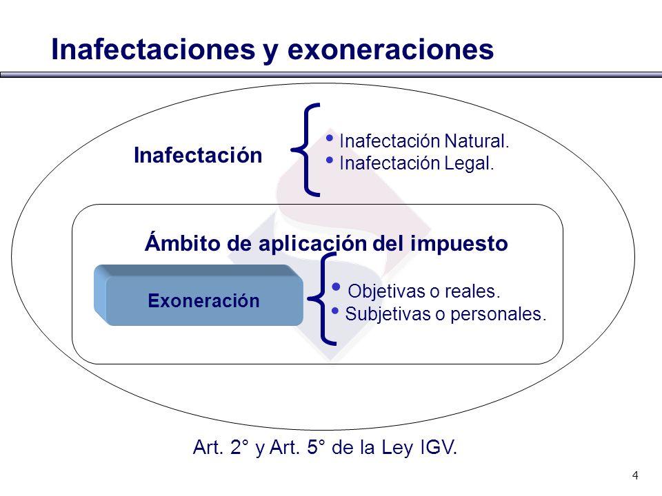 Inafectaciones y exoneraciones