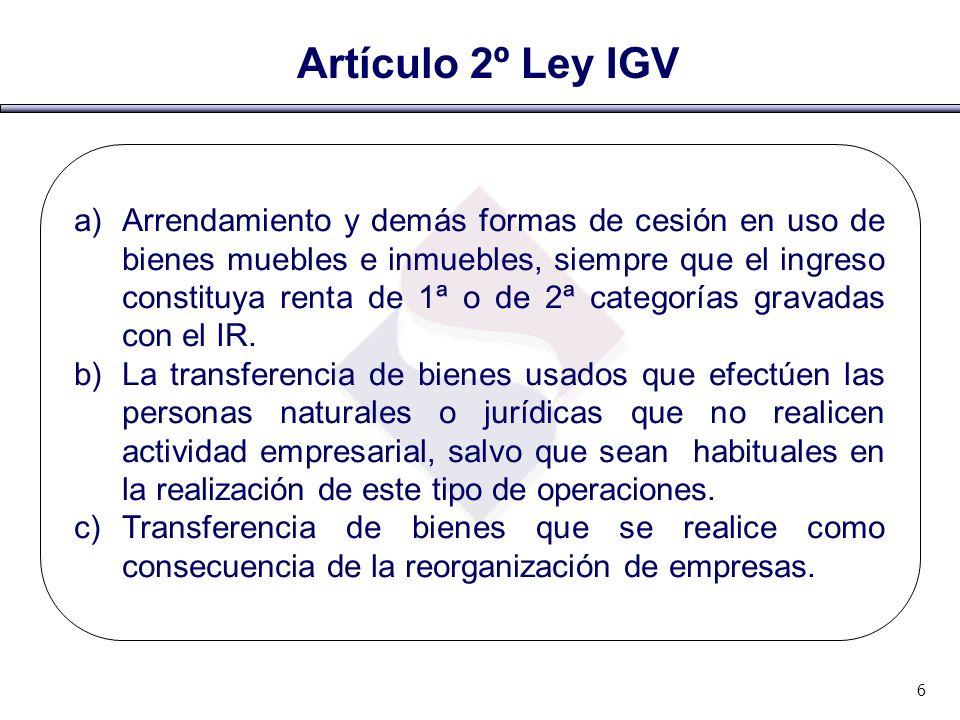 Artículo 2º Ley IGV