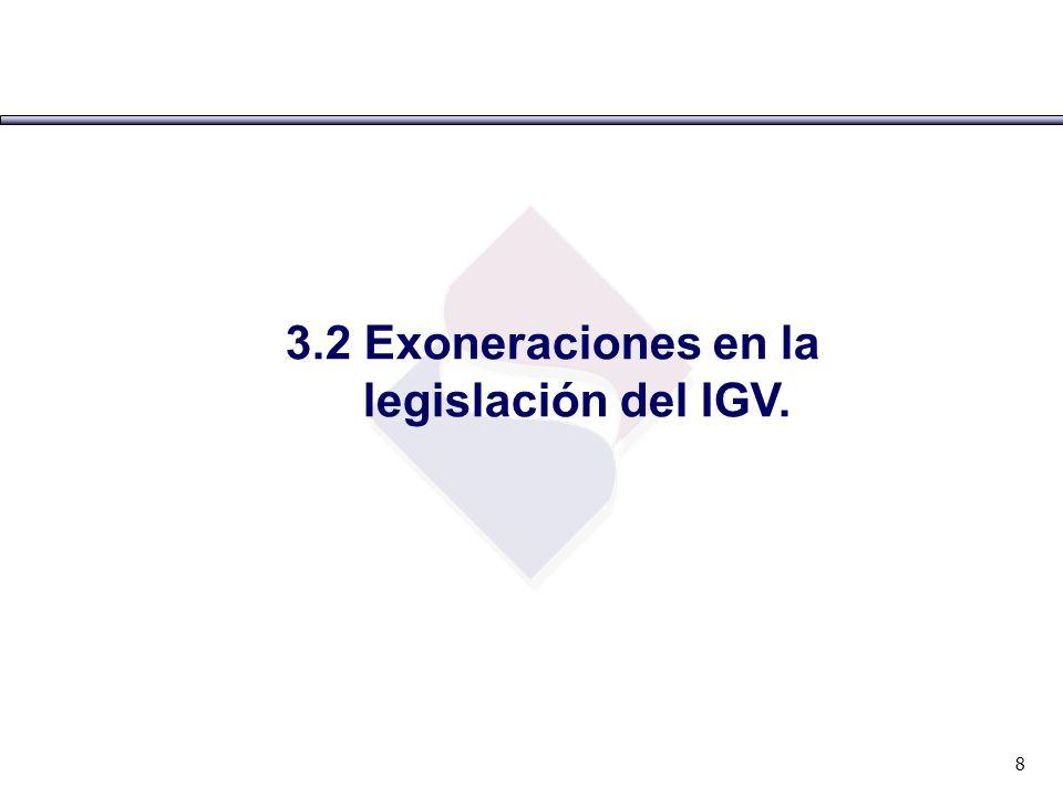 3.2 Exoneraciones en la legislación del IGV.