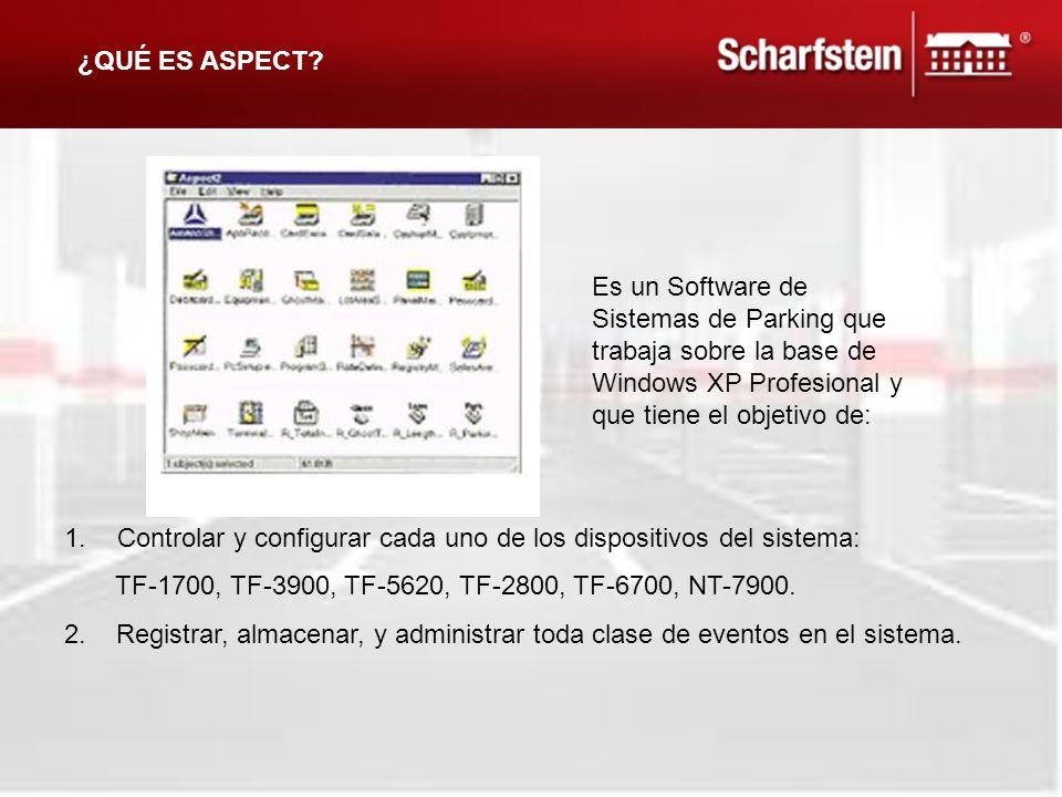 ¿QUÉ ES ASPECT Es un Software de Sistemas de Parking que trabaja sobre la base de Windows XP Profesional y que tiene el objetivo de: