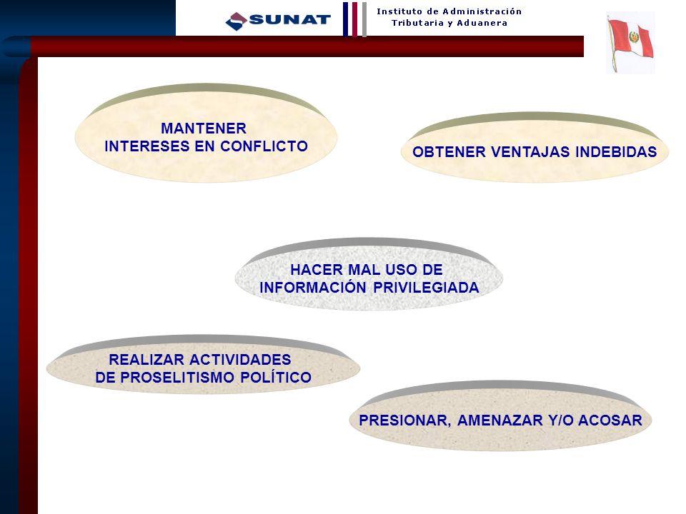 INTERESES EN CONFLICTO OBTENER VENTAJAS INDEBIDAS