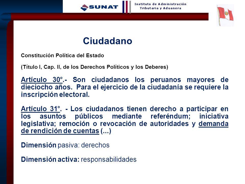 Ciudadano Constitución Política del Estado. (Título I, Cap. II, de los Derechos Políticos y los Deberes)