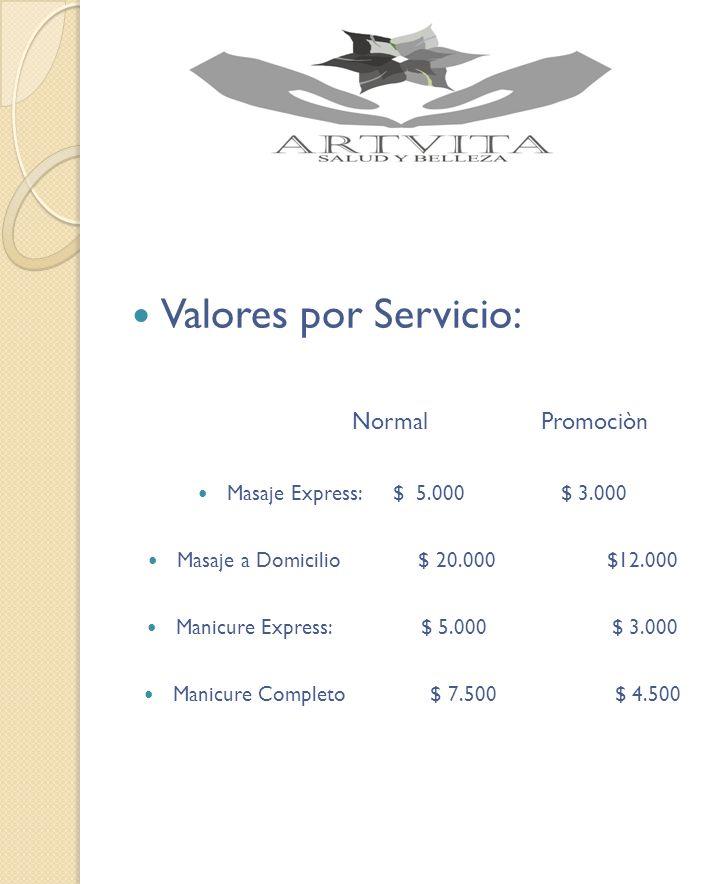 Valores por Servicio: Normal Promociòn Masaje Express: $ 5.000 $ 3.000