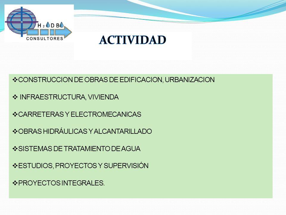 ACTIVIDAD CONSTRUCCION DE OBRAS DE EDIFICACION, URBANIZACION