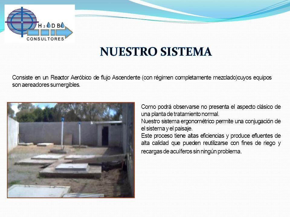 NUESTRO SISTEMA Consiste en un Reactor Aeróbico de flujo Ascendente (con régimen completamente mezclado)cuyos equipos son aereadores sumergibles.
