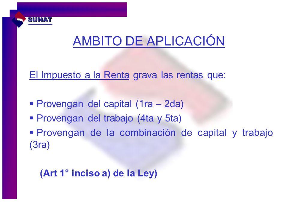 AMBITO DE APLICACIÓN El Impuesto a la Renta grava las rentas que: