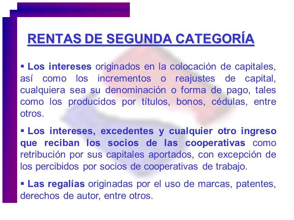 RENTAS DE SEGUNDA CATEGORÍA