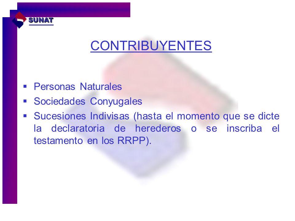 CONTRIBUYENTES Personas Naturales Sociedades Conyugales