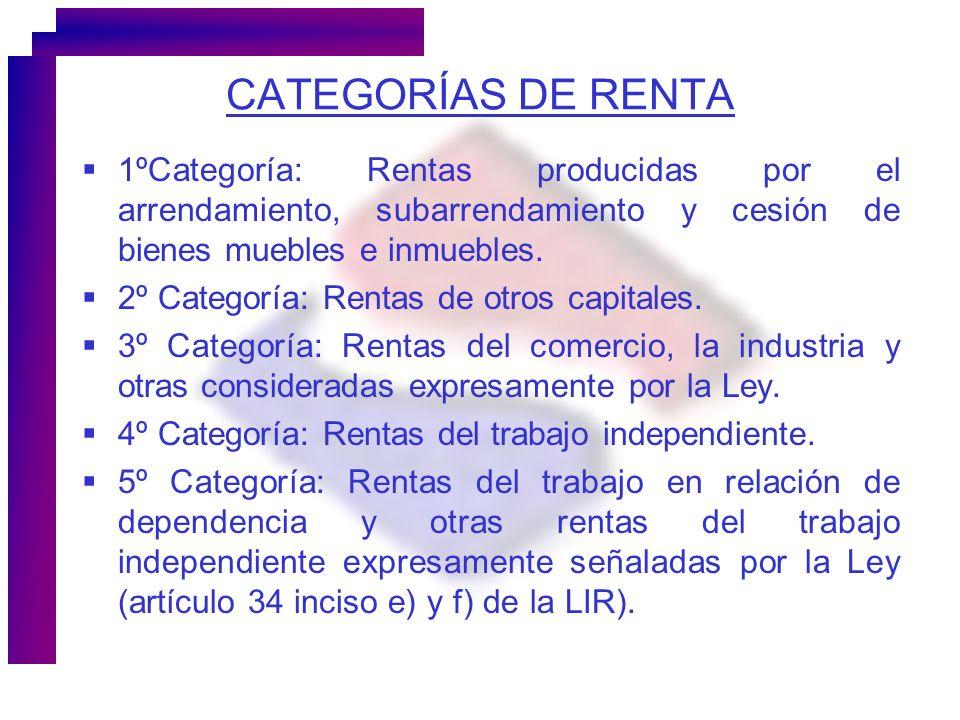 CATEGORÍAS DE RENTA 1ºCategoría: Rentas producidas por el arrendamiento, subarrendamiento y cesión de bienes muebles e inmuebles.