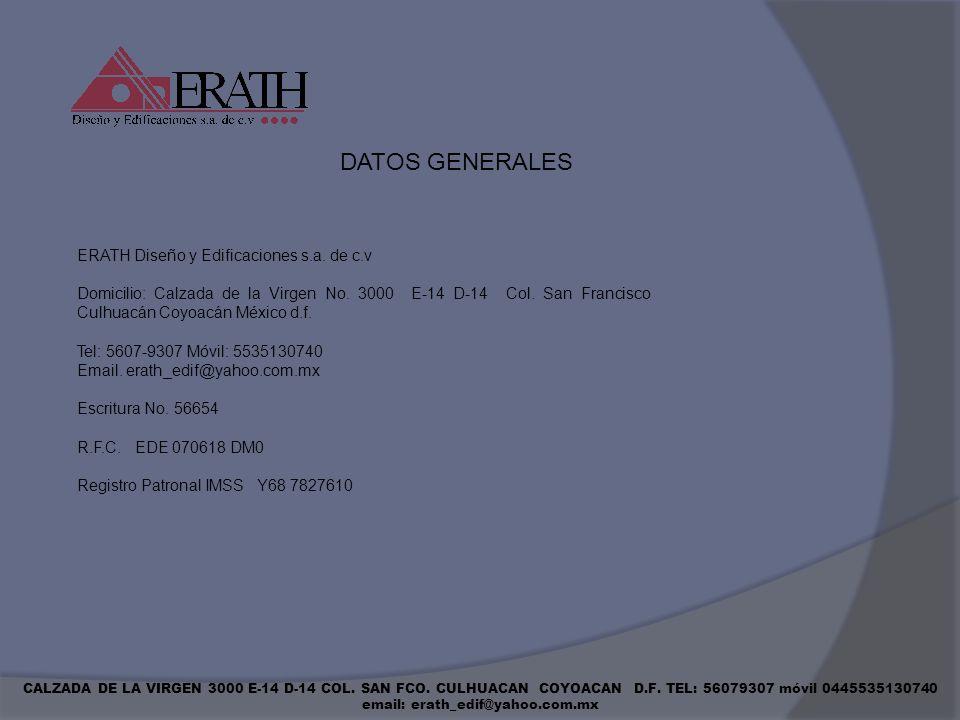 DATOS GENERALES ERATH Diseño y Edificaciones s.a. de c.v