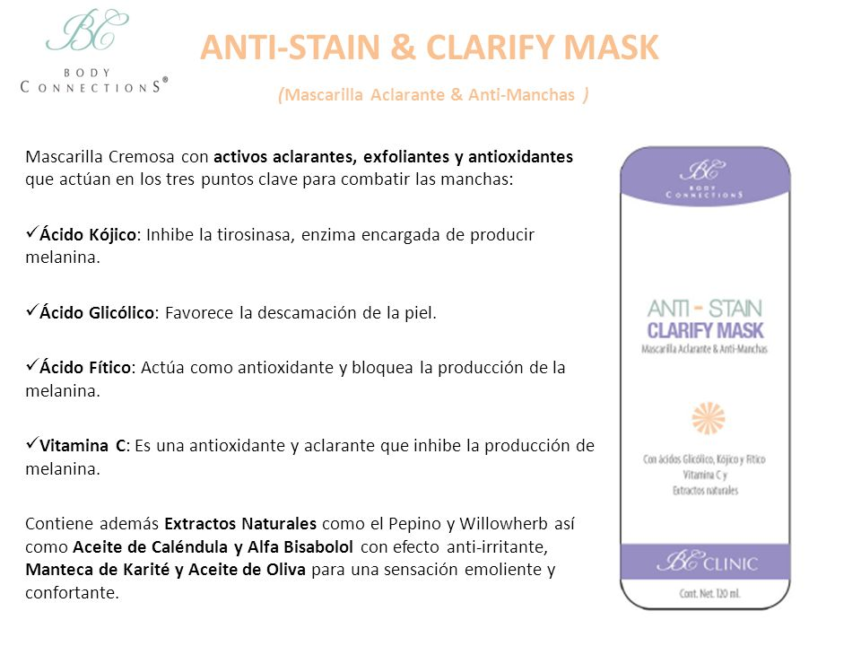 ANTI-STAIN & CLARIFY MASK (Mascarilla Aclarante & Anti-Manchas )