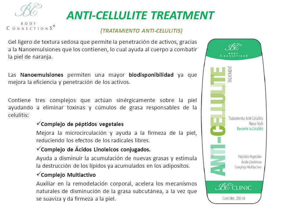 ANTI-CELLULITE TREATMENT (TRATAMIENTO ANTI-CELULITIS)