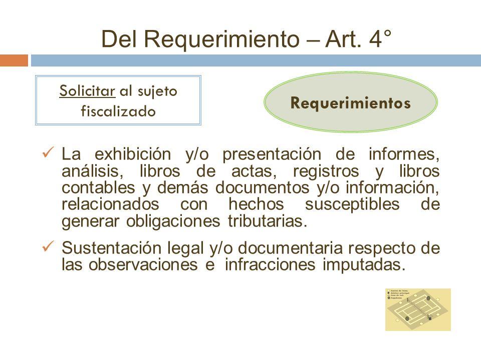 Del Requerimiento – Art. 4°
