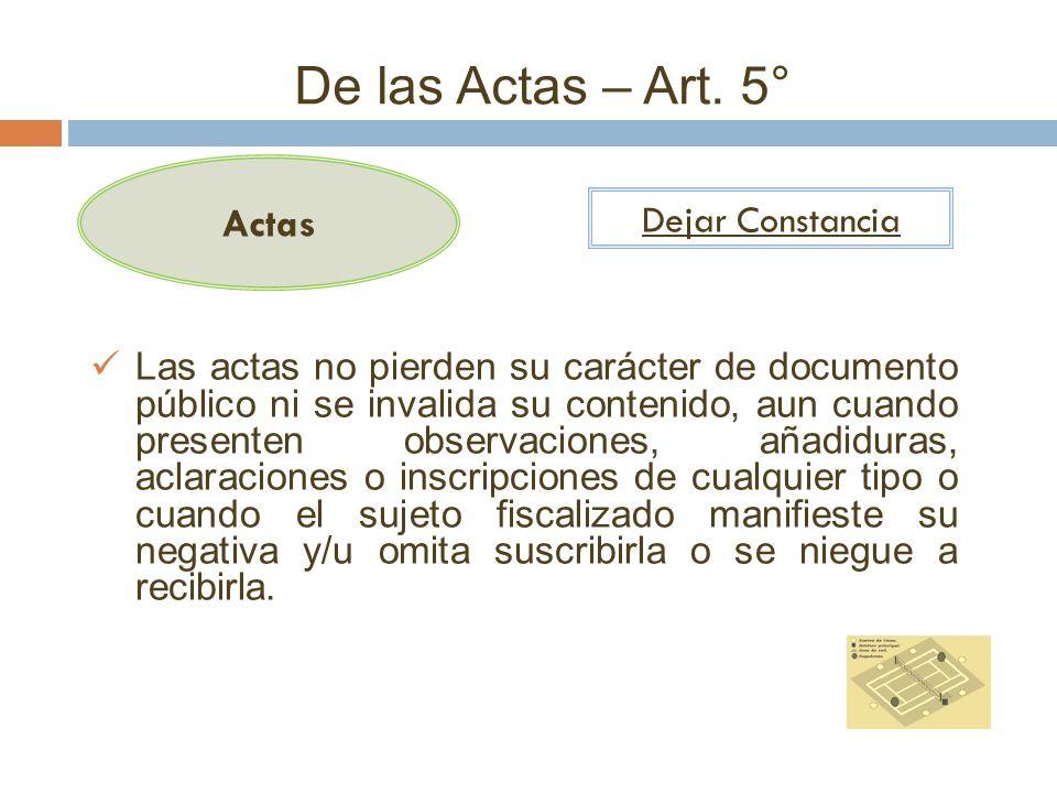 De las Actas – Art. 5° Actas Dejar Constancia