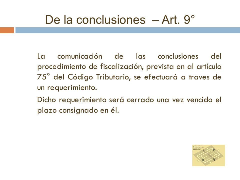 De la conclusiones – Art. 9°