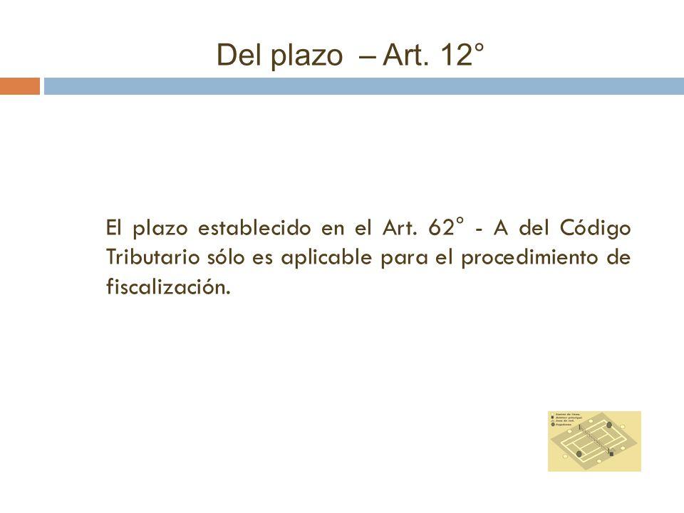 Del plazo – Art. 12° El plazo establecido en el Art.