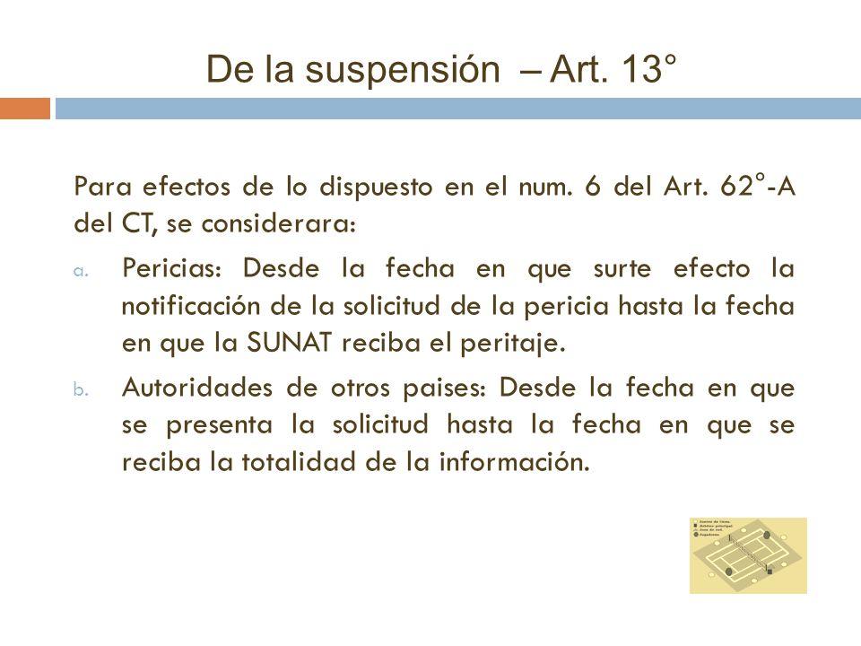 De la suspensión – Art. 13° Para efectos de lo dispuesto en el num. 6 del Art. 62°-A del CT, se considerara: