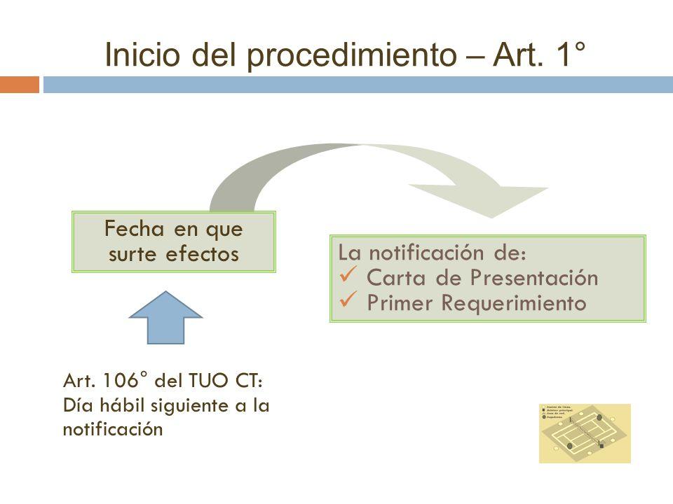 Inicio del procedimiento – Art. 1°