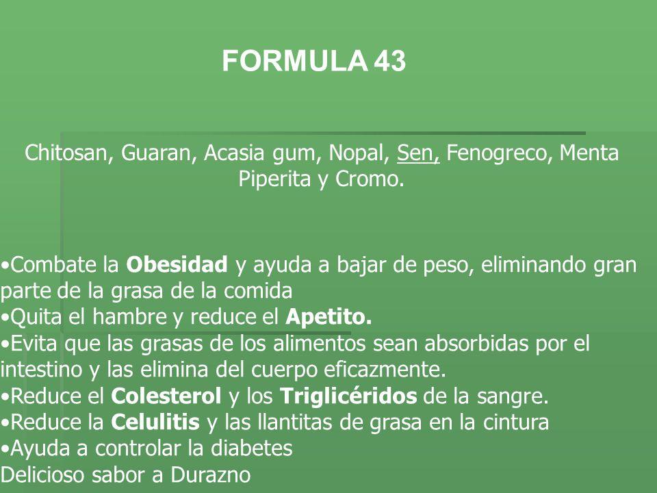FORMULA 43Chitosan, Guaran, Acasia gum, Nopal, Sen, Fenogreco, Menta Piperita y Cromo.
