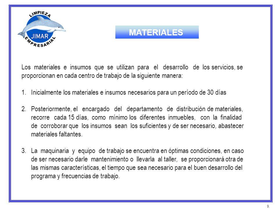 MATERIALES Los materiales e insumos que se utilizan para el desarrollo de los servicios, se.