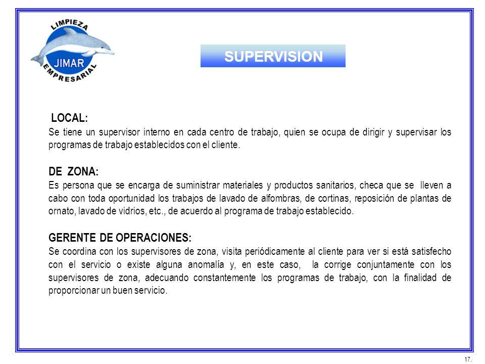 SUPERVISION LOCAL: DE ZONA: GERENTE DE OPERACIONES: