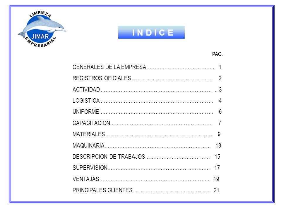 I N D I C E GENERALES DE LA EMPRESA………………………………….. 1