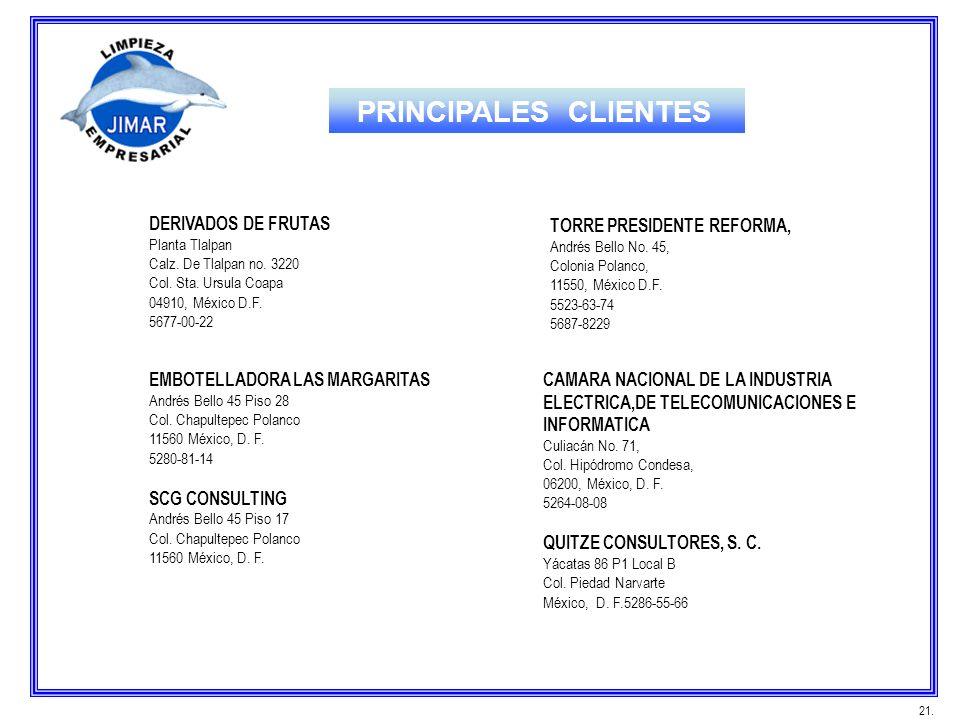 PRINCIPALES CLIENTES DERIVADOS DE FRUTAS TORRE PRESIDENTE REFORMA,
