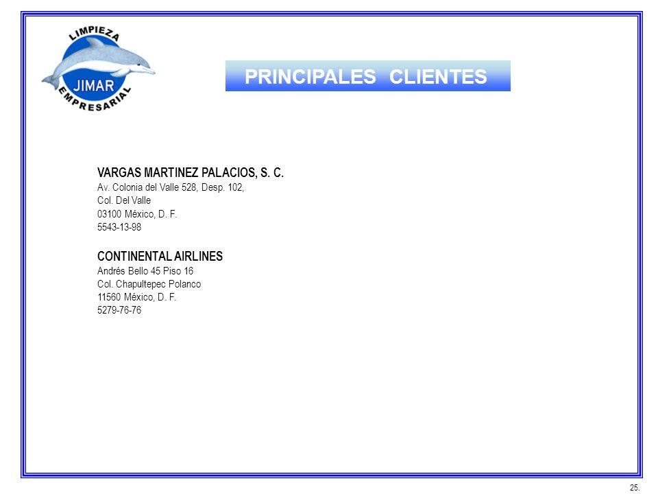 PRINCIPALES CLIENTES VARGAS MARTINEZ PALACIOS, S. C.