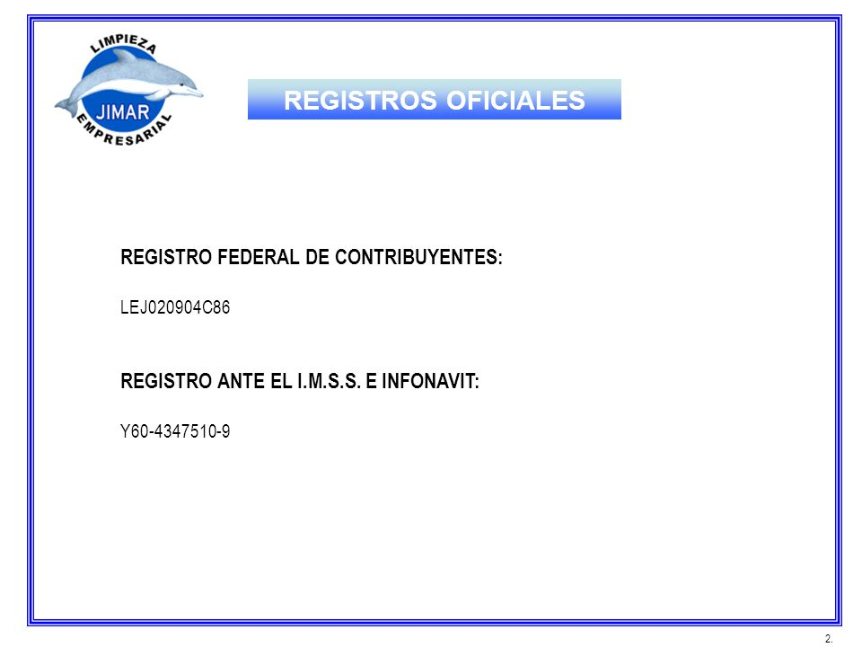 REGISTROS OFICIALES REGISTRO FEDERAL DE CONTRIBUYENTES: