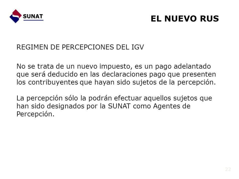 EL NUEVO RUS REGIMEN DE PERCEPCIONES DEL IGV