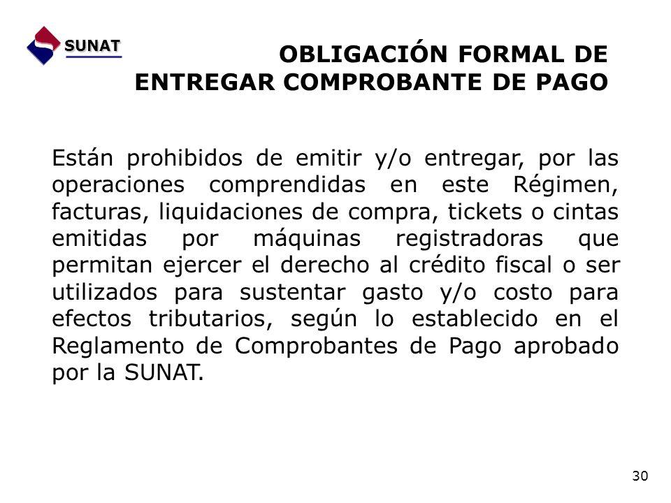 OBLIGACIÓN FORMAL DE ENTREGAR COMPROBANTE DE PAGO