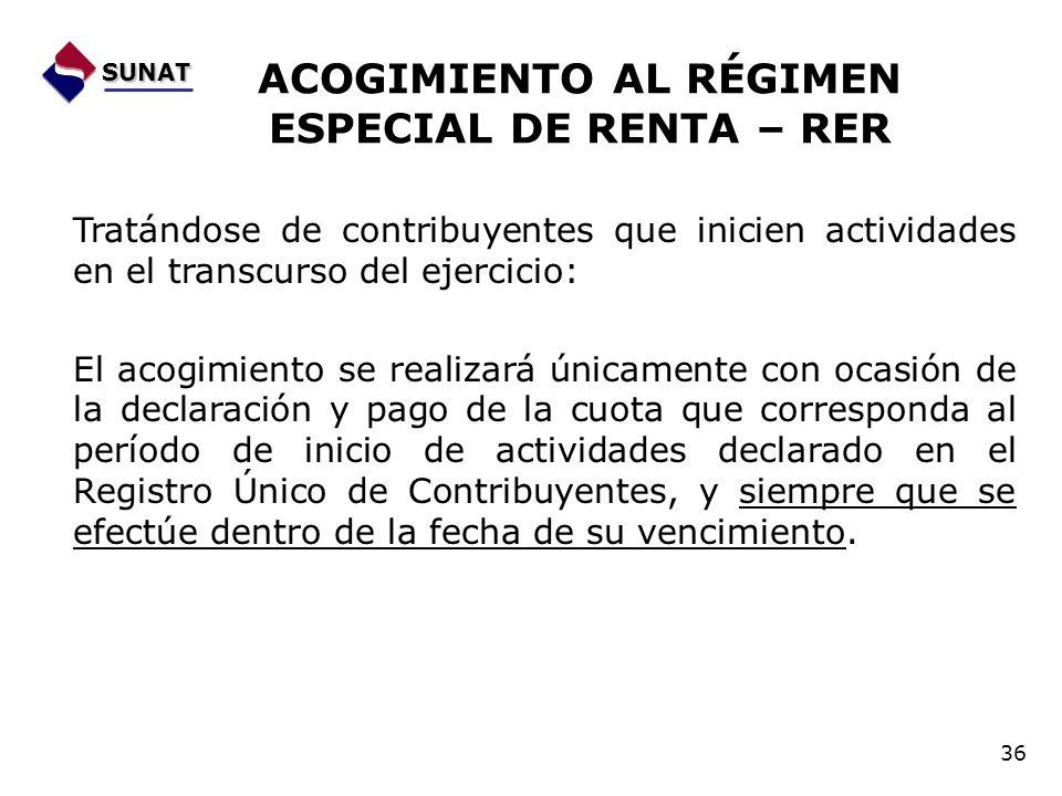 ACOGIMIENTO AL RÉGIMEN ESPECIAL DE RENTA – RER