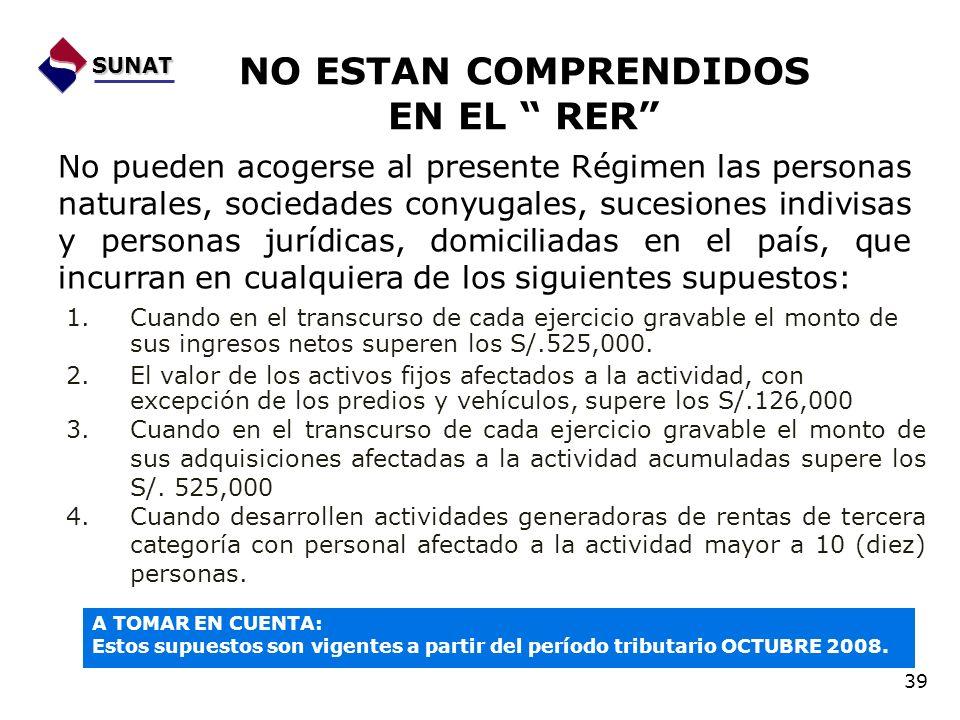 NO ESTAN COMPRENDIDOS EN EL RER