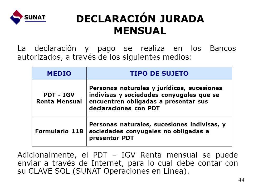 DECLARACIÓN JURADA MENSUAL