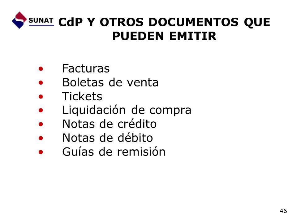 CdP Y OTROS DOCUMENTOS QUE PUEDEN EMITIR