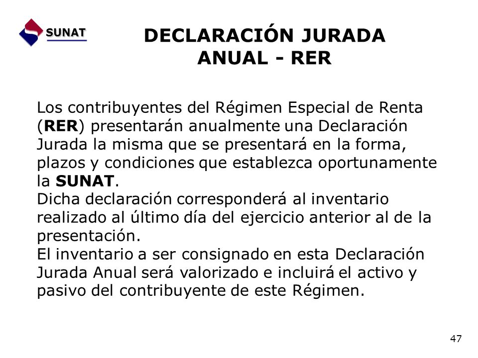 DECLARACIÓN JURADA ANUAL - RER