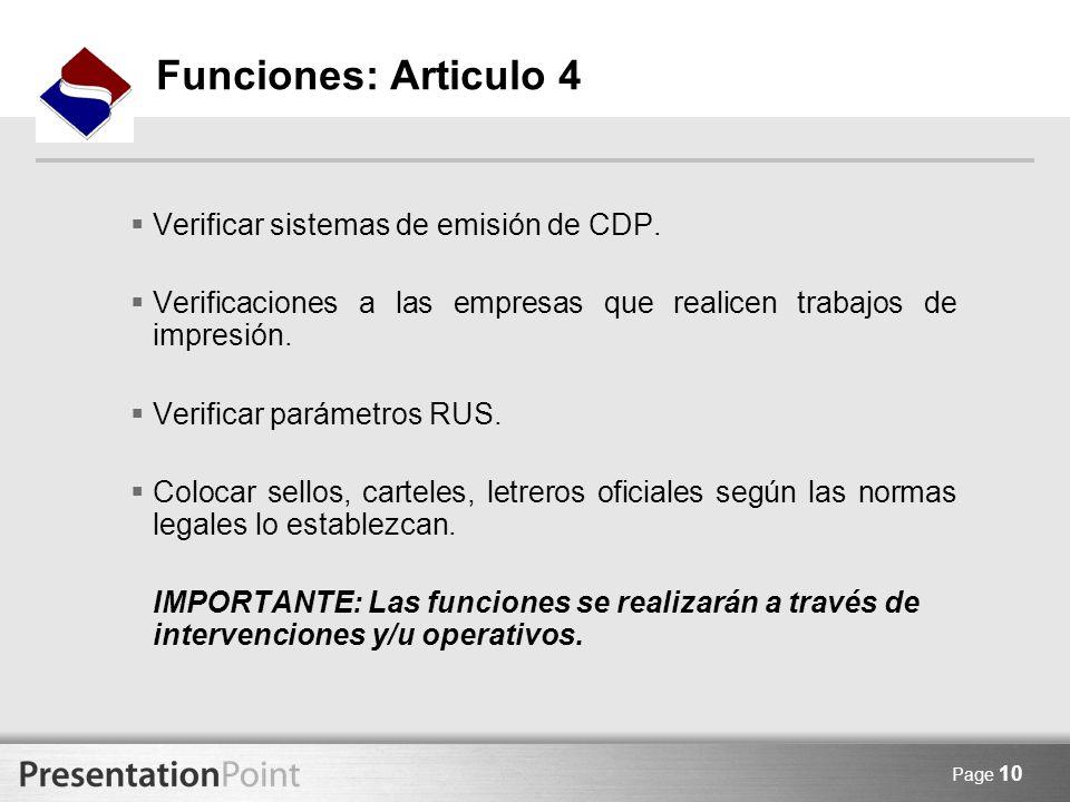 Funciones: Articulo 4 Verificar sistemas de emisión de CDP.