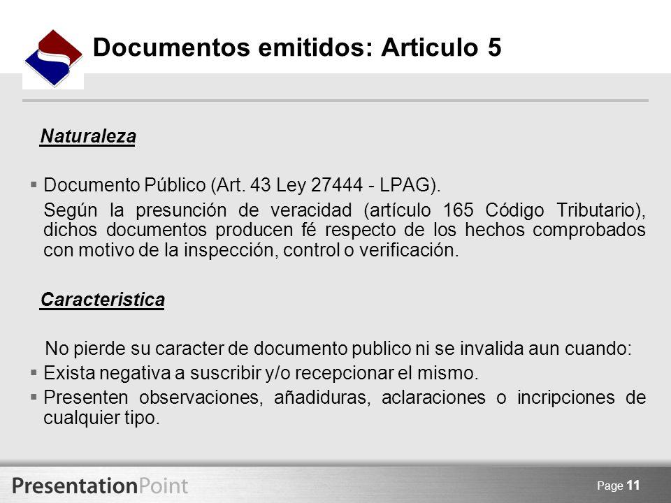 Documentos emitidos: Articulo 5