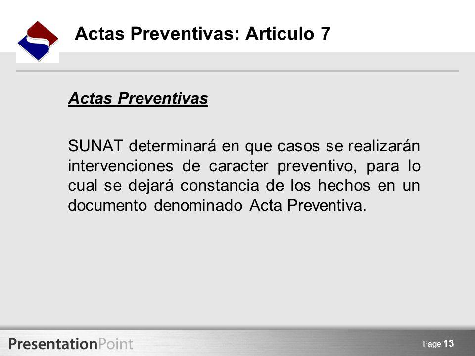 Actas Preventivas: Articulo 7