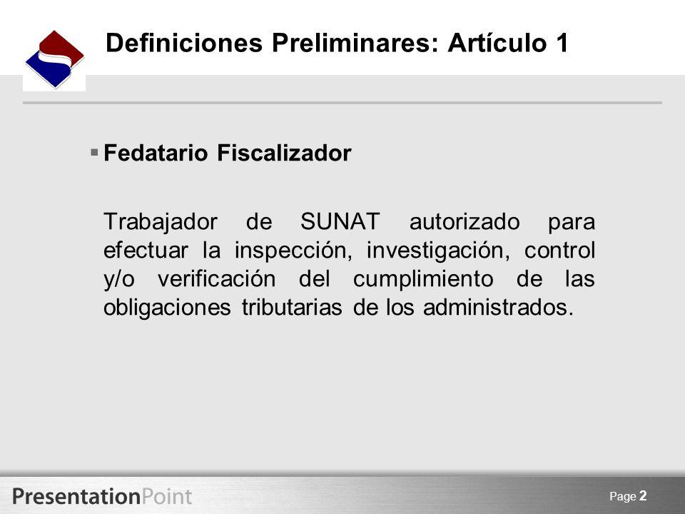 Definiciones Preliminares: Artículo 1