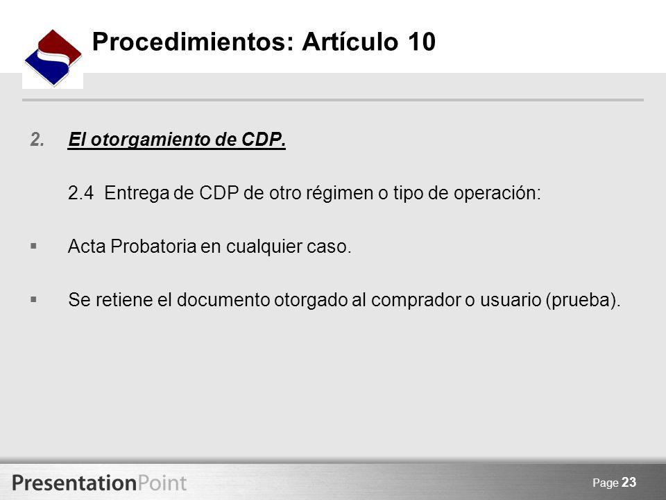 Procedimientos: Artículo 10